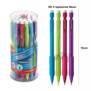 Kit 4 Lapiseiras 0,7mm Neon Com Borracha Tris
