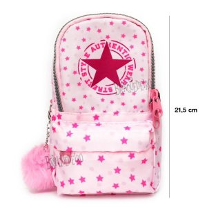 Estojo Penal Mini Mochila Rosa Authentic Com Pompom - Daterra