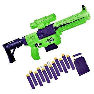 Lançador de Dardos Disparo Com 12 Dardos e Cartucho Verde