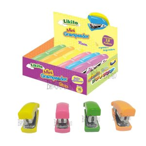 Mini Grampeador Neon 6cm Portátil Para Escola e Escritório