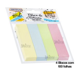 Bloco Adesivo Post it Pastel 100 Folhas 19mmx76mm.