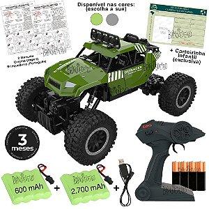 Carrinho de controle remoto 4X4 Bateria Extra e Carteirinha