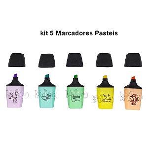 Kit 5 Marcadores Pasteis Colorido Animais