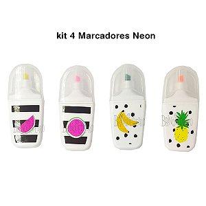 Kit 4 Marcadores Neon Colorido Frutas