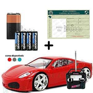 Carrinho de Controle Remoto Ferrari Com Carteirinha Bateria
