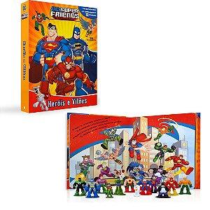 Brinquedo Liga da Justiça com 12 Bonecos Livro e Cenário Gigante