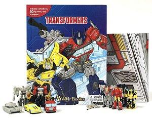 Livro Transformers com 10 Miniaturas e Cenário Gigante Gigan