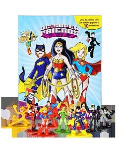 Livro Heróis Contra O Mal com 12 Miniaturas e Cenário Gigant