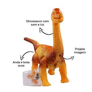 Dinossauro Braquiossauro com mini ovos som e luz