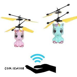 Drone Infantil Ponei Helicoptero Voa de Verdade Com Sensor Carrega USB
