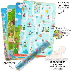 Tapete Infantil Dupla Face 10mm - 1,80 x 1,20 cm
