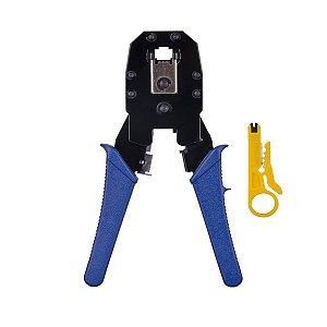 Alicate para crimpar RJ-45 / RJ-12 / RJ-11 ALC-01 azul com chave keystone e Desencapador de cabos HYX