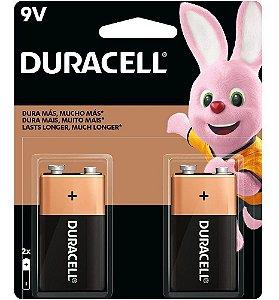 Bateria 9V Duracell Alcalina Pacote com 2 unidades