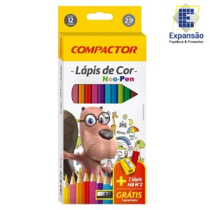 LAPIS DE COR 12 CORES + 1 LAPIS GRAFITE + 1 APONTADOR NEO PEN COMPACTOR