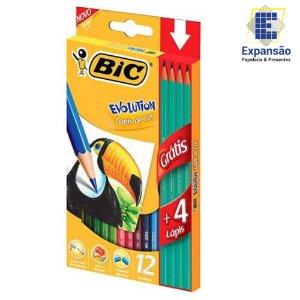 Lápis de Cor Evolution Sextavado 12 cores + 4 Lápis Grafites - Bic