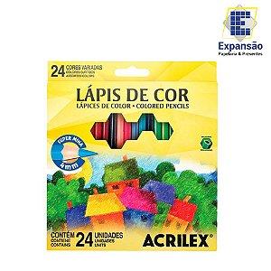 Lápis de Cor Acrilex Hexagonal 24 Cores
