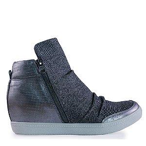 Tênis Sneaker Cano Alto , Salto Interno, Zíper Lateral Onix - 65530
