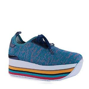 Tênis Feminino Flatform Sola Alta Colors com Cadarço em Tecido - 57501