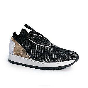 Tênis Jogging Knit Preto - 7251