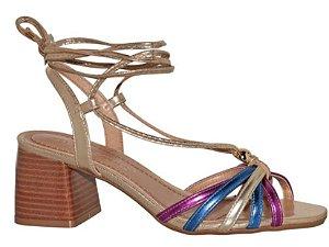 Sandália Salto Bloco Tiras Coloridas Metalizada - 57719