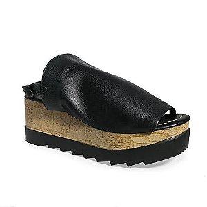 Sandália em couro Flatform Cortiça - 410.150
