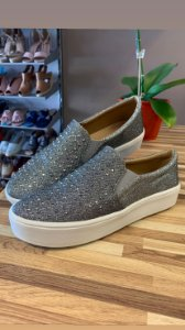 Tênis Slip On Lurex Hotfix Prata - 502- A