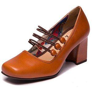 Sapato Retrô Botões em Couro - 6009