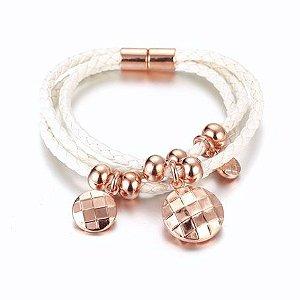 Bracelete em Couro e Ouro Rosê 18k