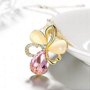 Colar Flor banhado em Ouro Rosê