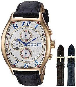Relógio Invicta 14330 Specialty original banhado a ouro 18k com 3 pulseira de couro