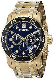 Relógios Invicta 0072 Pro Diver Collection original, Cronógrafo, banhado a ouro 18k