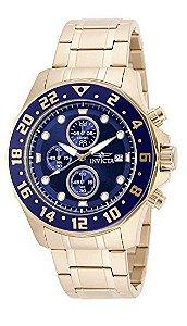 """Relógio Invicta """"Specialty"""" 15942 original de aço inoxidável banhado a ouro 18k"""