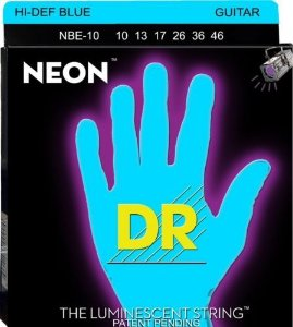 Encordoamento Dr Strings guitarra 6 Cordas (.010-.046) - NBE-10-Hi Def cor amarela-The Luminescent String