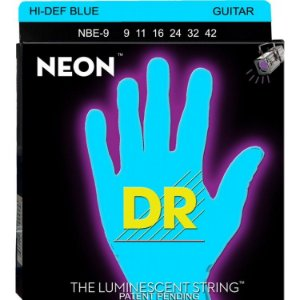 Encordoamento Dr Strings guitarra 6 Cordas (.09-.042) - NBE-9-Hi Def cor azul-The Luminescent String