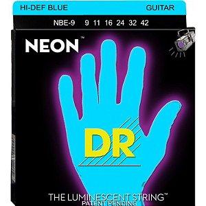 Encordoamento Dr Strings guitarra 6 Cordas (.09-.042) - NBE-9-Hi Def cor azul-The Luminescent String