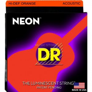 Encordoamento Violão Dr Strings 6 Cordas (.011-.050) -NOA-11-Hi Def cor laranja-The Luminescent String