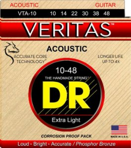 Encordoamento Violão Dr Strings 6 Cordas (.010-.048) - VTA-10-Veritas- Loud Bright.Accurate