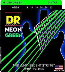 Encordoamento Dr Strings guitarra 6 Cordas (.011-.050) - NGE-11-Hi Def cor verde-The Luminescent String