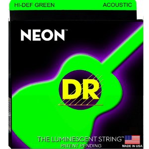 Encordoamento Violão Dr Strings 6  Cordas (.012-.054) -NGA-12-Hi Def cor verde-The Luminescent String