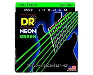 Encordoamento Dr Strings guitarra 6 Cordas (.09-.042) - NGE-9-Hi Def cor verde-The Luminescent String