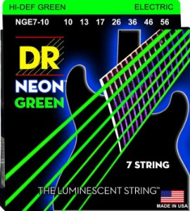 Encordoamento Dr Strings guitarra 7  Cordas (.010-.056) - NGE7-10-Hi Def cor verde-The Luminescent String