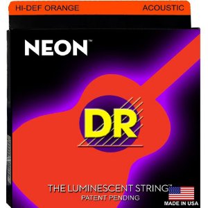 Encordoamento Violão Dr Strings 6 Cordas (.012-.054) -Hi Def Cor Laranja - NOA -12- The Luminescent String
