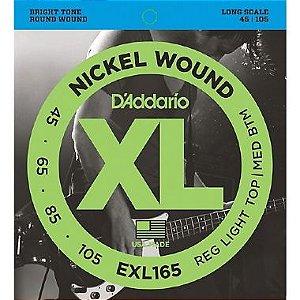 Encordoamento Daddario Contrabaixo  045 -105 Regular Light  EXL165  Long Scale