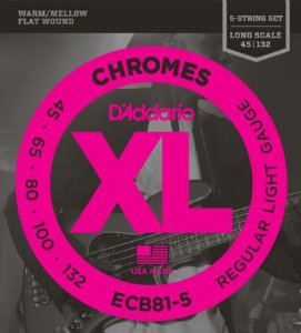 Encordoamento Daddario Contrabaixo 045-135 Chromes Regular Light Gauge  ECB81-5  Long Scale