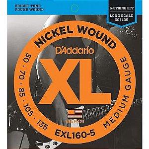 Encordoamento Daddario Contrabaixo 5 Cordas 050-135 Medium Guage  EXL160-5 Long Scale