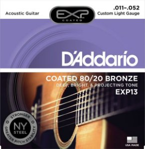 Encordoamento Violão Daddario 6 Cordas (.011-.052) - Custom Light Gauge - (EXP13) - (COATED 80/20 Bronze)