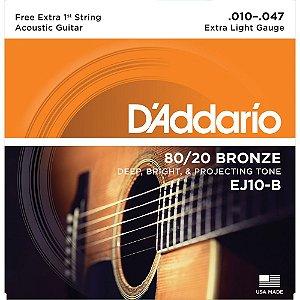 Encordoamento Violão Daddario 010-047 Extra Light Gauge EJ10-B 80/20 Bronze CORDA MI EXTRA