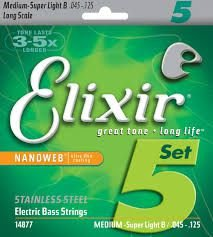 Encordoamento Elixir Baixo 5 Cordas 045-125 - Light - Long Scale - 14877 - Stainless Steel
