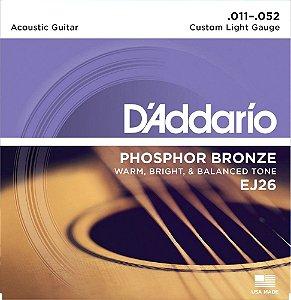 CORDAS DE VIOLÃO ENCORDOAMENTO DADDARIO 6 CORDAS (.011-.052) - CUSTOM LIGHT GAUGE - (EJ26) - (PHOSPHOR BRONZE) - CORDA MI EXTRA