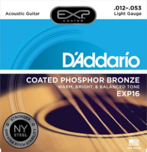 Encordoamento Violão Daddario 012-053 Light Gauge EXP16 Coated Phosphor Bronze